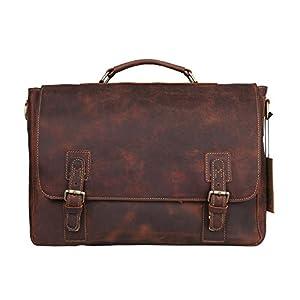 """Kattee Vintage Genuine Cow Leather Briefcase Messenger Bag, Fit 15"""" Laptop by Kattee"""