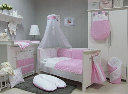 BABY-BETTWSCHE-SET-STARS-4tlg-Bett-Set-135100-VOILE-frs-BABYBETT-14070-cm-Bettwsche-gestickt-Nestchen-HimmelBaldachim-Moskito-rosa