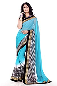 Sourbh Saree Graceful Lace Work Chiffon Must Have Best Sarees for Women Party Wear, Special Karwa Chauth Gifts for Wife, Women Clothing Collection