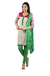 Rama Set of White -Pink Color Kurti with Green Color Legging & Duppatta