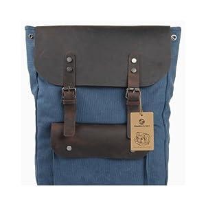 Koolertron - Sac à Dos / Sac d'épaule Cartable En Toile Cuir Véritable Style Britannique Rétro Vintage (Bleu)