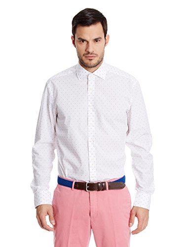 Hackett London - Mayf White Dot Jacq, Camicia da uomo, Multicolore(blanc / rouge), L