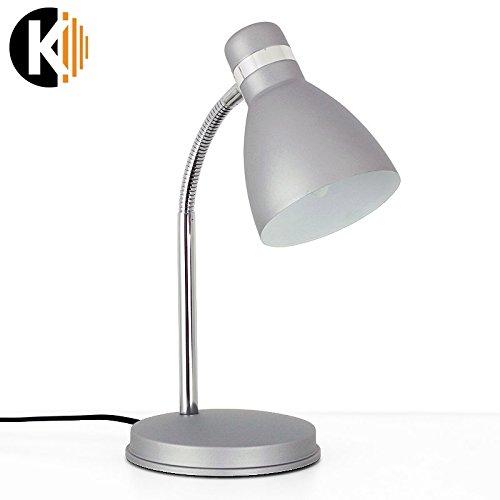 KWAZAR-LEUCHTE-Schwenkarm-E14-Fassung-LED-Schreibtischlampe-Tischleuchte-Arbeitsleuchte-Silbergrau-Arm-Verstellbar-Desk-3-E14-Silbergrau