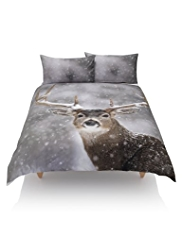 Pure Cotton Snowfall & Digital Reindeer Print Bedset