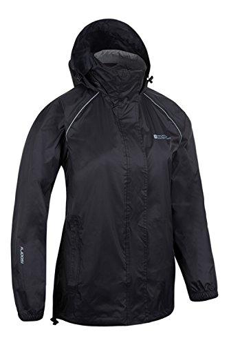 Mountain Warehouse Damen Pakka Leicht Wasserdichte Versiegelte Nähte Regenschutz Jacke Mantel Neu Schwarz DE 34 (EU 36) -