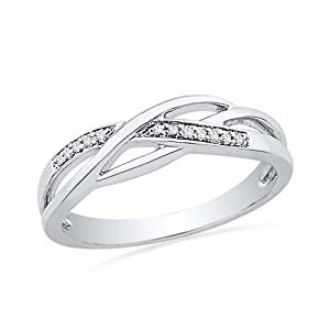 Sterling Silver Round Diamond Fashion Ring (1/20 cttw) from D-GOLD