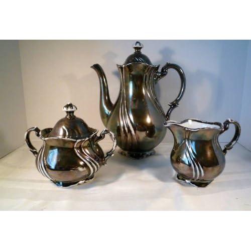 Vintage Dekor Rw Bavaria Feinsilber 5 Piece Porcelain Coffee / Tea