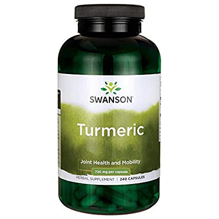 Swanson Turmeric Antioxidant, Joint Health, Cardiovascular, Liver Detox, Mood and Memory Support Supplement Curcuma Longa (Rhizome) 720 mg, 240 Capsules, 120 Servings, 1.44 Grams per Serving image
