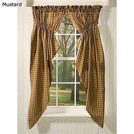 sturbridge mustard 63 gathered swag home kitchen. Black Bedroom Furniture Sets. Home Design Ideas