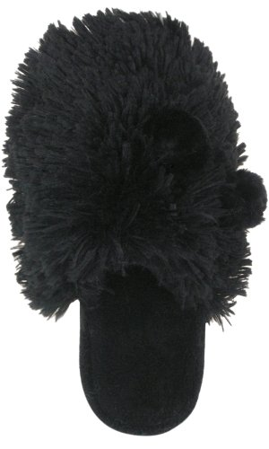 Cheap Capelli New York Shaggy Faux Fur Scuff With Satin Bow And Faux Fur Poms Ladies Indoor Slippers (B00495SXLU)