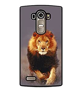 Fuson Premium Hunting Lion Metal Printed with Hard Plastic Back Case Cover for LG G4