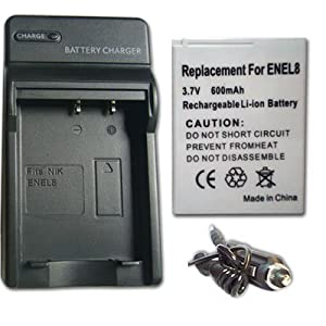 NEW Battery + Charger FOR NIKON COOLPIX S51 S51C S52 S52c S6 S7 S8 S9 EN-EL8 ENEL8 + Car Plug