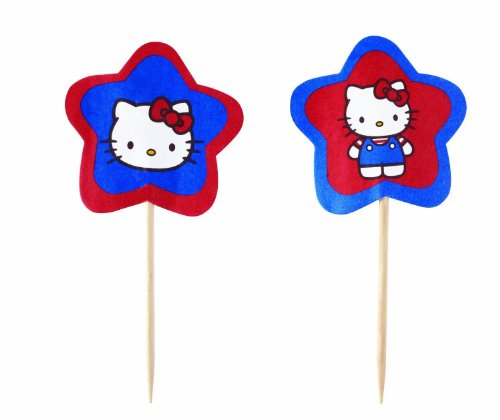 New Wilton HELLO KITTY FUN PIX 24ct Birthday Party Cake Cupcake Picks!! Fast Shipping