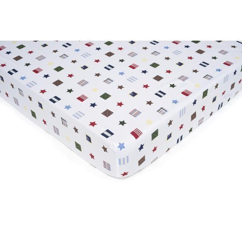 Kids Line Oxford Bear Collection Drap Housse Star Flag Nautical Fitted Crib Sheet - 1