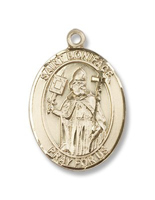 Gold Filled St. Boniface Medal Pendant Charm with 18