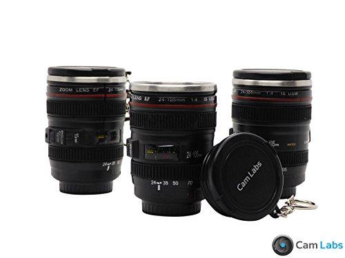 CamLabs Camera Lens Shotglass Set - Best Gift for Photographers - Free Travel Bag - 3 Mug Shot Glass Key Chains, Canon EF 24-105mm f/4L IS USM Lens (1:4) Mini Replica, 1.5oz Stainless Steel Interior