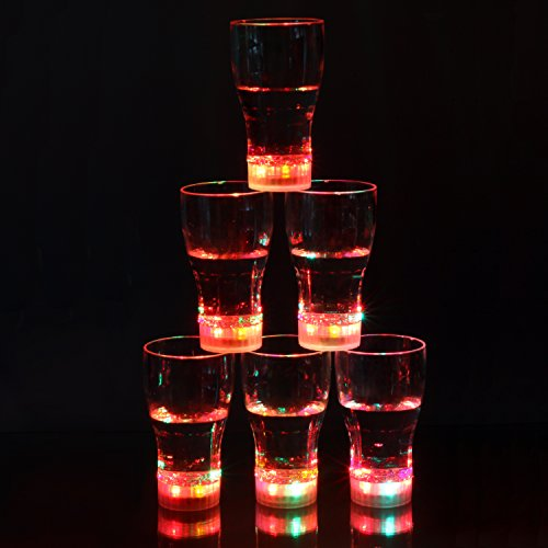 Homecube 12 oz Light up Cola Glasses Flashing Blinking LED Cups Barware Bell Soda Glass Pop (6)