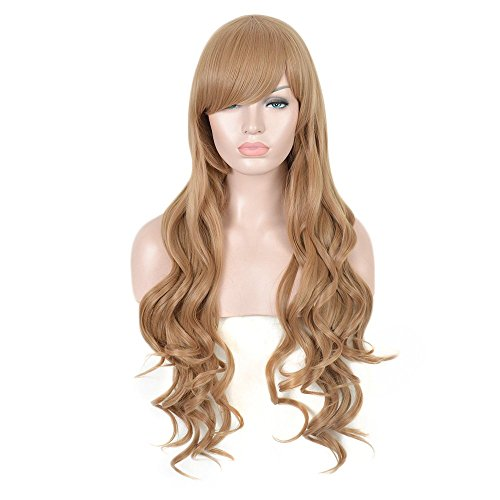 [SiYi Brown Long Wavy Wig 29.53 Inch Fashion Natural Hand Synthetic Hair Women Anime Cosplay Wigs] (Best Womens Comic Con Costumes)