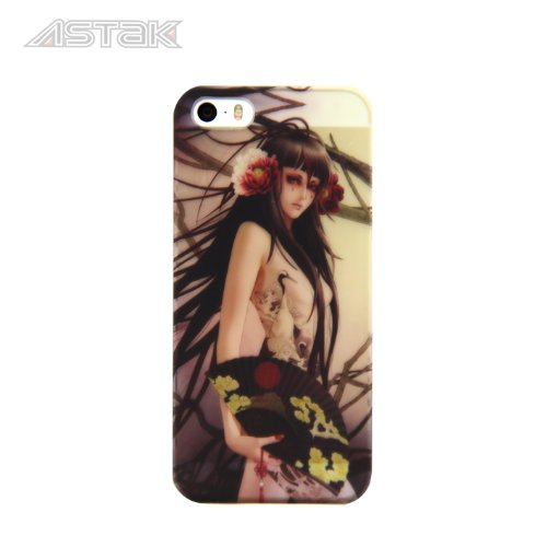 Stunning Inked Girl Series Tattoo Art Design, Variety Of Sexy Cases With Devil Tattooed Girls With Snakes, Dragons, Flowers, And Butterfly'S Protective Snap-On Hard Plastic Back Case Cover For Iphone5/ 5S (Tattoo Girl With Fan)