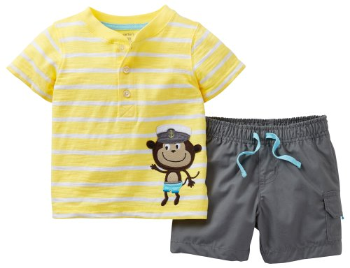 Carters Baby Boy Captain Monkey Stripe Short Set Yellow 12 Mo front-1031294