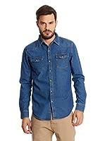 New Caro Camisa Hombre (Azul Denim)