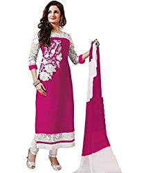 Tellywoodstyle Women's Georgette Unstitched Dress Material (royal pink 01_Pink_Free Size)