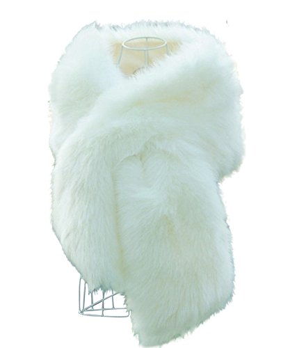 Faux Fox Fur Outwear for Autumn and Winter New Style Women's Fur Shawl Wrap White
