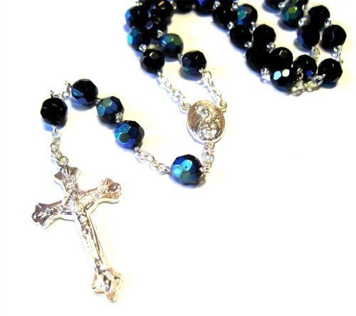 Silver Plated Necklace Rosary Crystal Black Glass Beads & Jesus Crucifix And Jerusalem Cross front-998755
