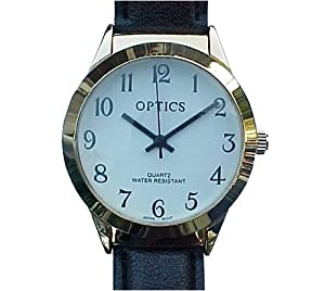 Easy to read watch with magnifier.Handsome gold tone case with black leather band 1.5 inches diameter. Man's size.