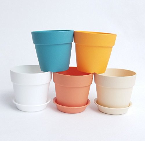 AS Mini resin Plastic Flower Seedlings Nursery Pot/Flower Pot with Pallet / Garden Plant Pot Home Decoration(5Pack) (Plastic Pots For Flowers compare prices)