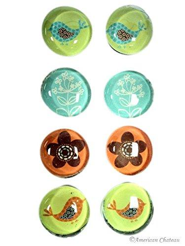 8 Art Glass Fridge Refrigerator Magnets Birds/Flowers