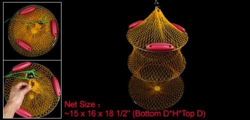 Como Orange Yellow Foldable Fish Keep Lure Net Fishing Trap Nets