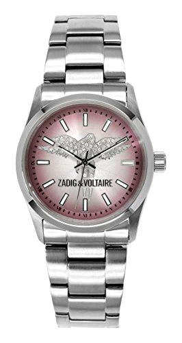Zadig & Voltaire  - Reloj de cuarzo para mujer, correa de acero inoxidable color plateado