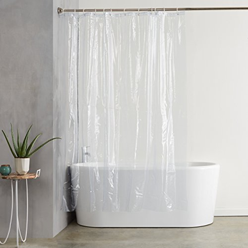 Amazonbasics Ultra Heavyweight 20 Gauge Pvc Shower Curtain Liner With Hooks Treated To Resist