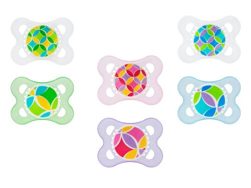 Mam Trends Silicone Pacifier, 2 Months, 2 Pack, Pink/Blue/Green (Discontinued by Manufacturer)