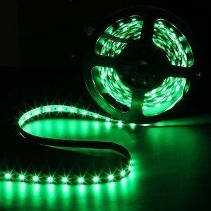 All Five Stars Ultra Bright 16.4 ft 5 Meters Waterproof 3528 SMD 300 LED Green Strip Lights DC 12V for Indoor Decorative (Green) by All Five Stars