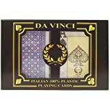 Da Vinci Neve, Italian 100% Plastic Playing Cards, 2-Deck Bridge Size Set by Modiano, Jumbo Index