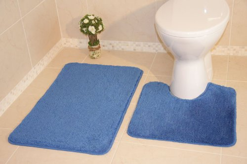 Bolero Plain Sea Blue Bath and Pedestal Bathroom Mats 2 Piece Set 774 - 2 Sizes