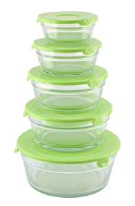 10-Piece Set - Round Glass Storage Bowls Nested, Glass Food Storage Container with Lids,... by ChefLand