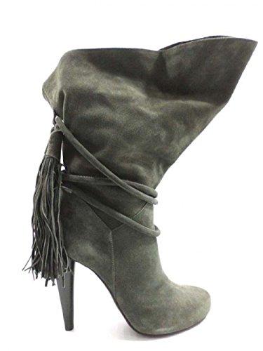 ROBERTO CAVALLI AY574 stivali donna 37,5 EU grigio camoscio
