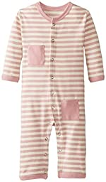 L\'ovedbaby Unisex-Baby Newborn Organic Long Sleeve Overall, Mauve/Beige, 9/12 Months