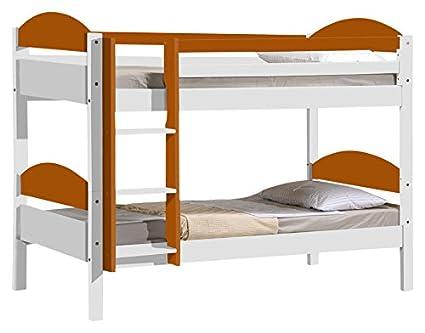 Design Vicenza Maximus Bunk Bed 3ft Short Whitewash With Orange Details