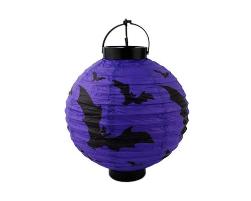"Halloween Party Decoration 8"" Round Hanging Paper Lantern With Led Party Accessory - Bats"