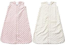Halo SleepSack Medium Wearable Blanket Plushy Dot Velboa, 2 Pack, Pink/Cream