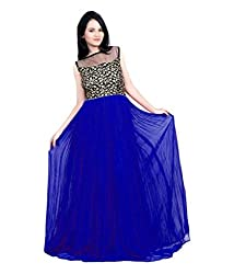 Vadaliya Enterprise Women's Embroidered Blue Gown