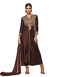 Vibes Womens Georgette Patch Work Straight Dress Material (V128-1002 -Brown -Free Size)