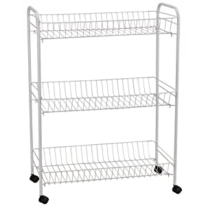household essentials jumbo 3 tier metal cart with wheels white kitchen storage carts. Black Bedroom Furniture Sets. Home Design Ideas
