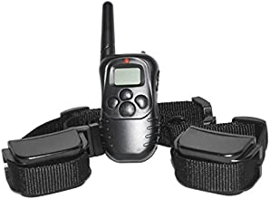 Petrainer 330 Yards Remote 4 in 1 LCD E-collar Rechargeable and Waterproof Pet Dog Training Shock Electric Collar with Vibration for 2 Small or Large Dogs Safe Electronic Trainer
