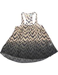 Vintage Havana - Big Girls\' Dip Dye Zig Zag Chiffon Tank Top, Black, Tan 32037-10/12