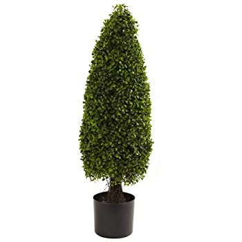 Nearly Natural 5412 Boxwood Tower Topiary UV Resistant Tree, 3-Feet, Green
